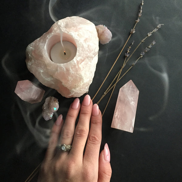Rose Quartz Crystal Candle Holders