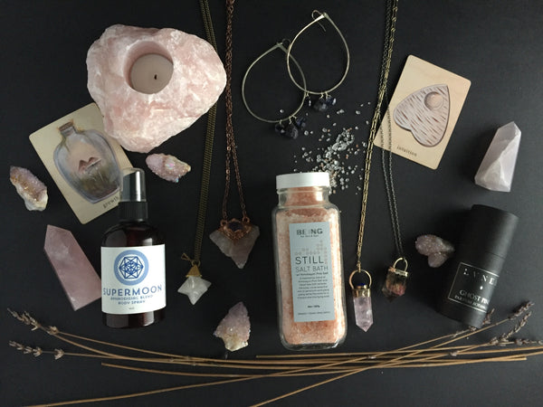 Portland Local Valentine's Day Gift Guide Altar PDX: Rose Quartz Candles Citrine Crystal Necklaces Perfume Tarot Cards Salt Baths Earrings Aphrodisiac Body Spray