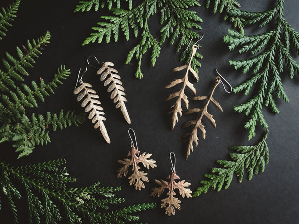 Portland Local Shopping Altar PDX Jamie Spinello Jewelry Leaf Earrings Brass Alternative Handmade Goods Boho Accessories Goth Witch Dark