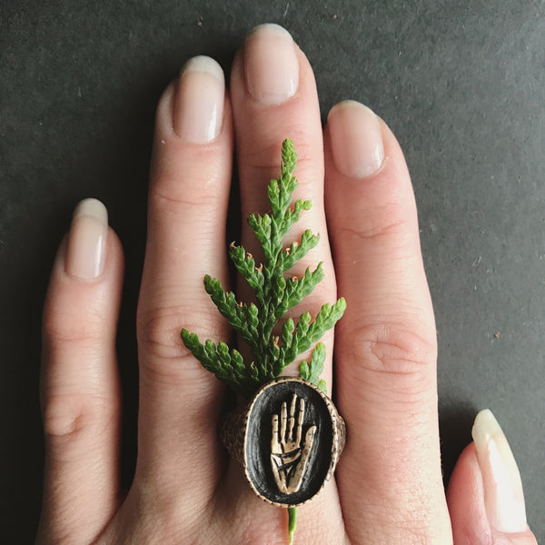 Portland Local Shopping Altar PDX Jamie Spinello Hamsa Signet Ring Brass Handmade Alternative Goods Accessories Jewelry Gothic Boho Chic Festival Nature Leaf Independent