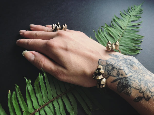 Portland Local Shopping Altar PDX Boutique Jamie Spinello Handmade Alternative Goods Jewelry Brass Crystal Cuff Bracelet Ring Alternative Accessories Boho Chic Festival Wear Witch Gothic Hippie
