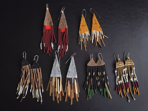Lu in the Frey Shop Portland Local Earrings Handmade Independent artist tassle fringe boho chic witch hippie festival jewelry
