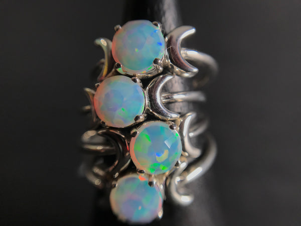 Shop Portland Local Altar PDX Leviticus Jewelry Rings Opal Skeleton Halloween Jewelry Silver Handmade Independent Designer Moons Gothic Boho Chic Coffin