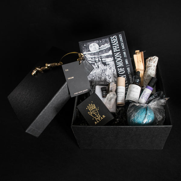 Altar PDX Altar Gift Boxes Thanksgiving Christmas Presents Magic in a Box Crystals Healing Oils Moon Charts Phases Sage Palo Santo Herbs Incense Perfume Shopping Darkness Gothic Boho Chic