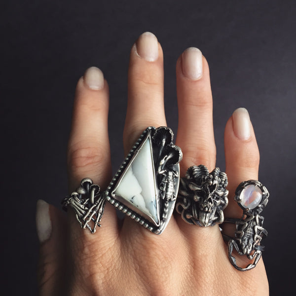 Shop Portland Local Altar PDX Rings Fashion Scorpions Stones Skulls Dark Witch
