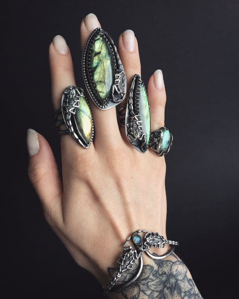 Shop Portland Local Alternative Boutiques Witch Goth Rings Stones Crystals Labradorite Scorpions
