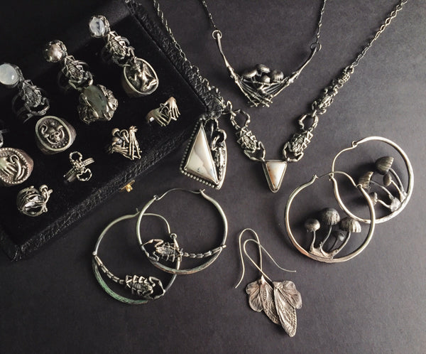Shop Portland Local Altar PDX Fashion Boutique Dark Bohemian Jewelry Earrings Rings Necklaces Silver Stones Butterflies Gothic Jewelry