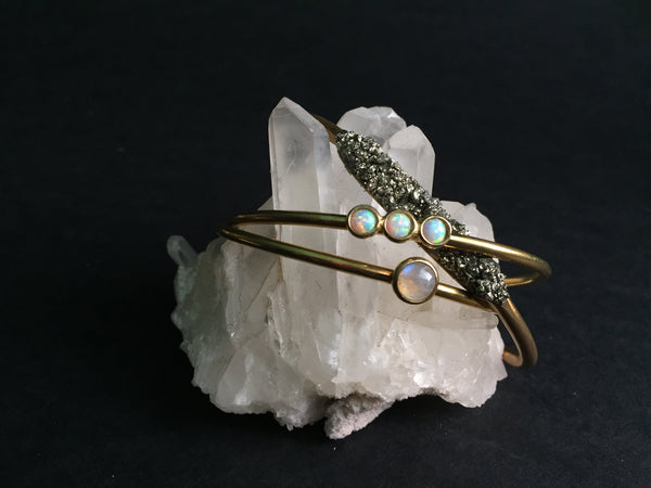 Therese Kuempel Brass Jewelry Shop Portland Local Altar PDX Opal Jewelry Crystal Pyrite Bracelet Cuff