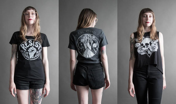 Shop Portland Local Boutiques Altar PDX Fashion T Shirts Wolf Child T Resist Skull Tank Tops Handmade