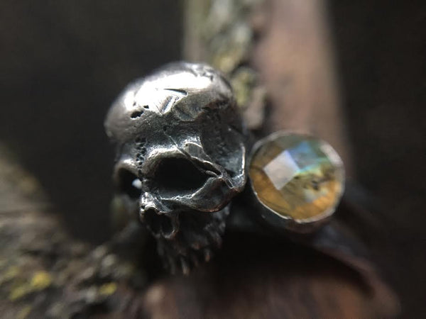Portland Local Fashion Altar PDX Theeth Labradorite Skull Ring Jewelry