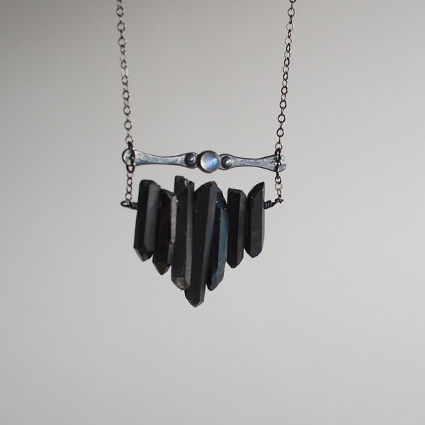 Black Multicrystal Necklace with Moonstone