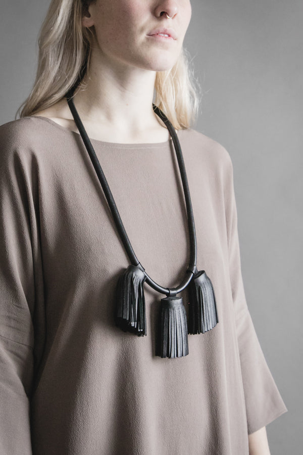 Large Triple Tassel Leather Necklace