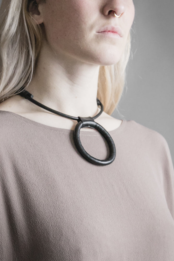 Leather Circle Necklace w/ Adjustable Length