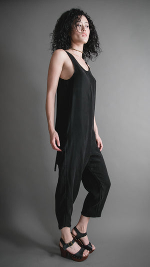 Black Silky Cupro Houseline Jumpsuit, Apparel, Altar Houseline - Altar PDX