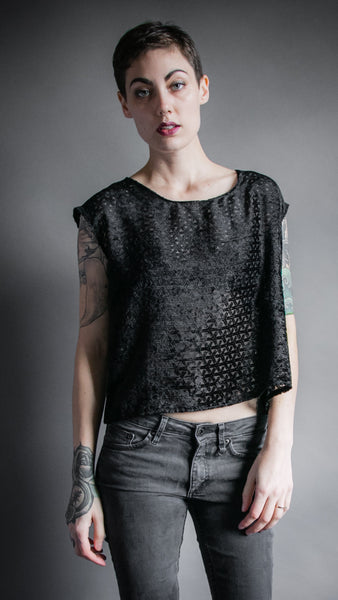 Black Velvet Burnout Flounce Top
