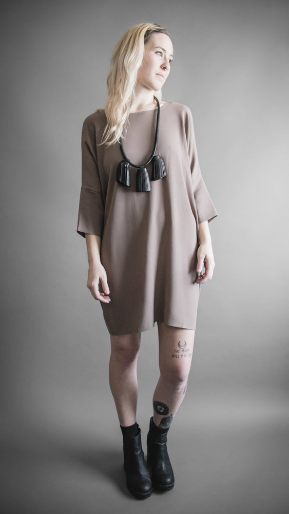Taupe Crepe Batwing Dress