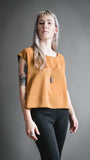Orange/Black Dotted Flounce Top