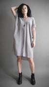 Silver Silky Cupro Tunic Dress, Apparel, Altar Houseline - Altar PDX
