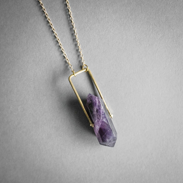 Crystal Spinner Necklace - Amethyst