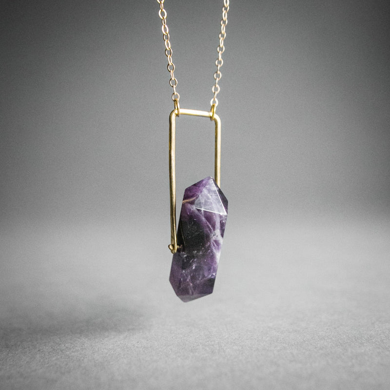 Crystal Spinner Necklace - Amethyst, Jewelry, Iron Oxide - Altar PDX
