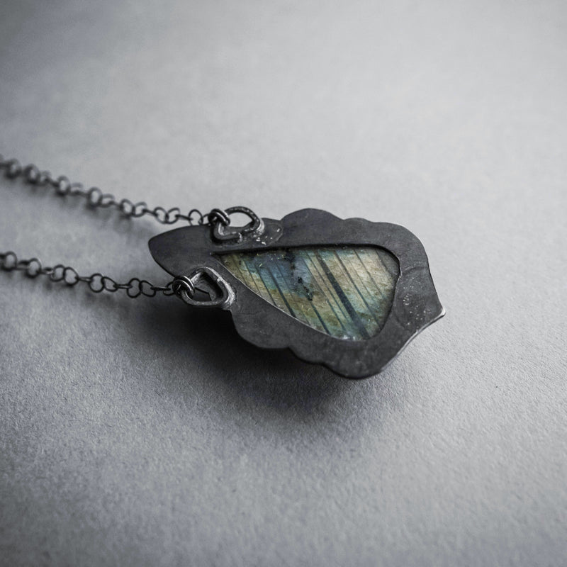 Triangle Labradorite and Crescent Moon Necklace, Jewelry, Anima Silva - Altar PDX