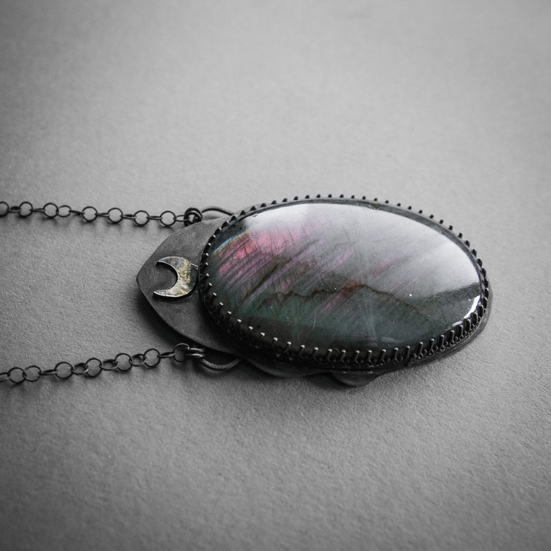 Oversized Purple Labradorite and Crescent Necklace, Jewelry, Anima Silva - Altar PDX