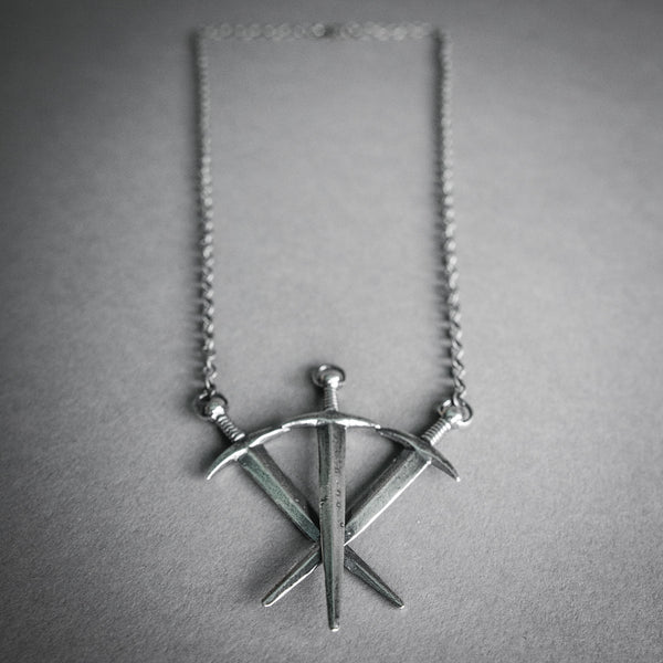 Arcana Obscura, Sterling Silver Three Swords Necklace