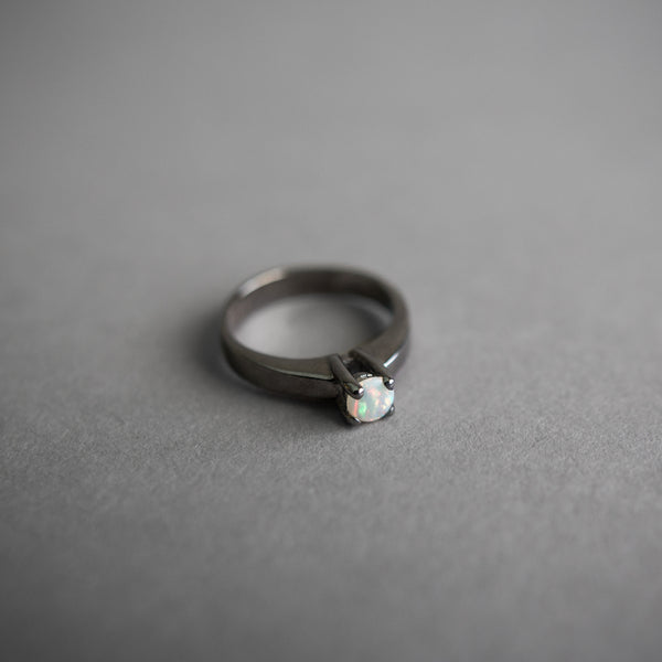Black Rhodium Solitaire Opal Ring