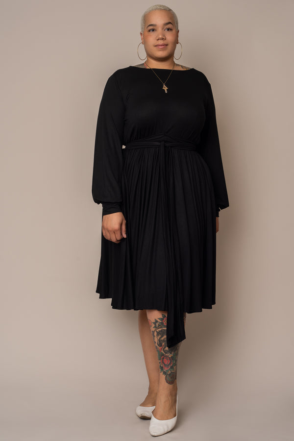 black-boat-neck-flare-dress