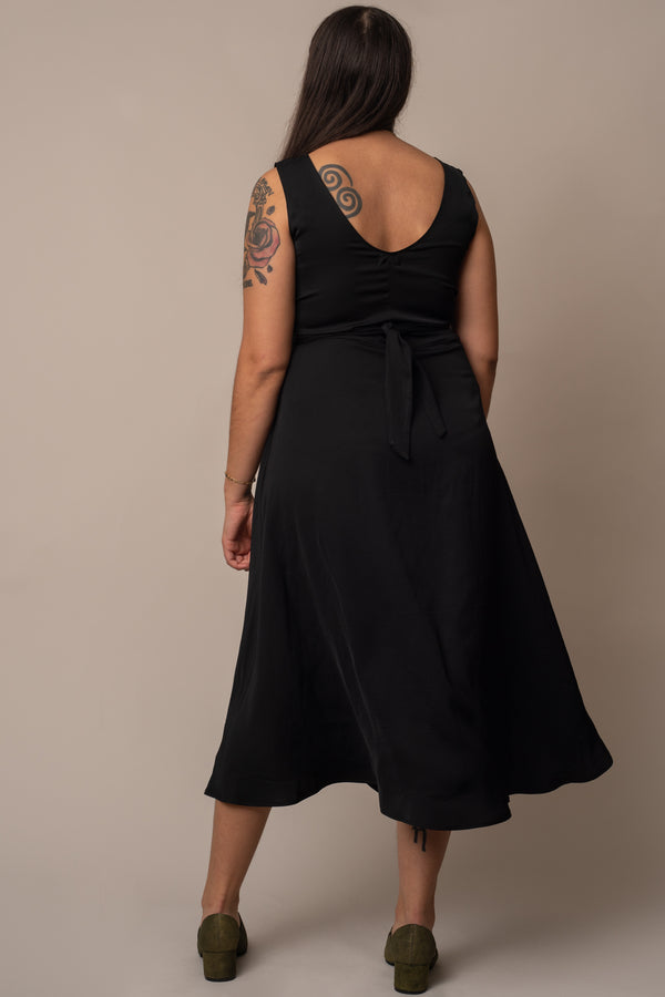 Black-Silky-Cupro-Tie-Waist-Dress