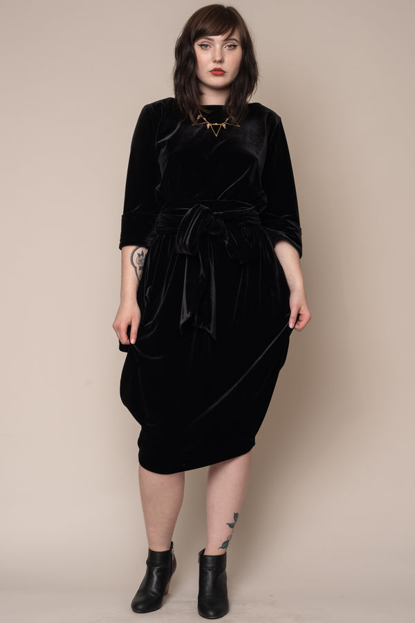 Black-Velvet-Boat-Neck-Slouch-Dress