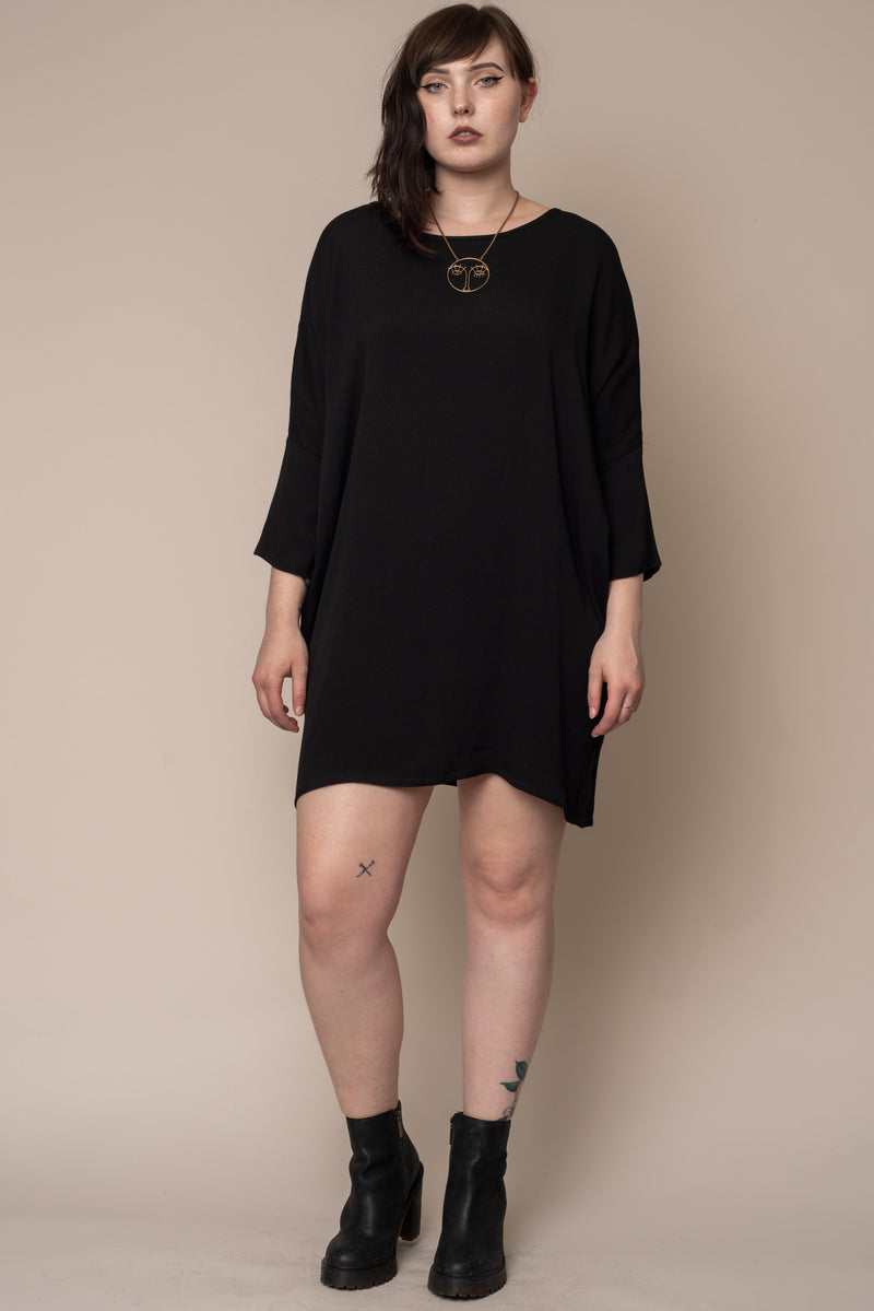 Black-Woven-Batwing-Dress