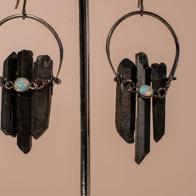 Black Crystal Crescent Earrings