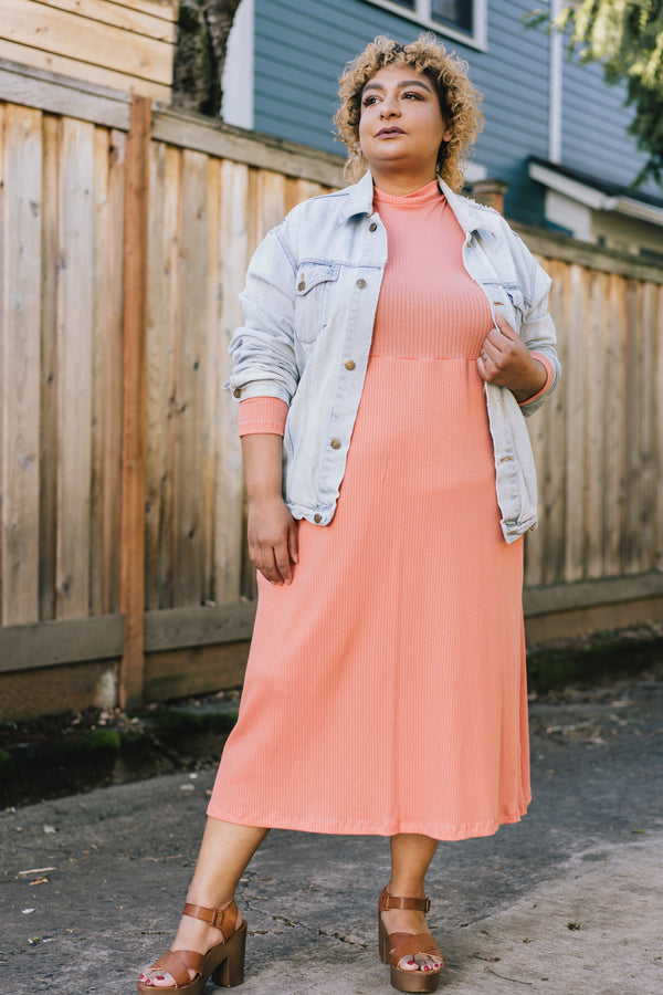 Megumi Dress in Vibrant Coral +