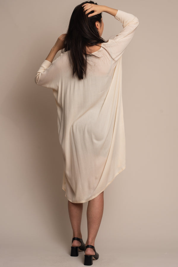 Cream-Woven-Batwing-Dress