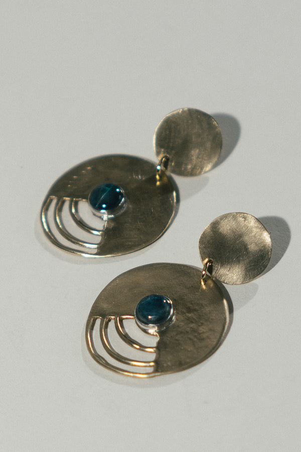 Halo Earrings with Apatite