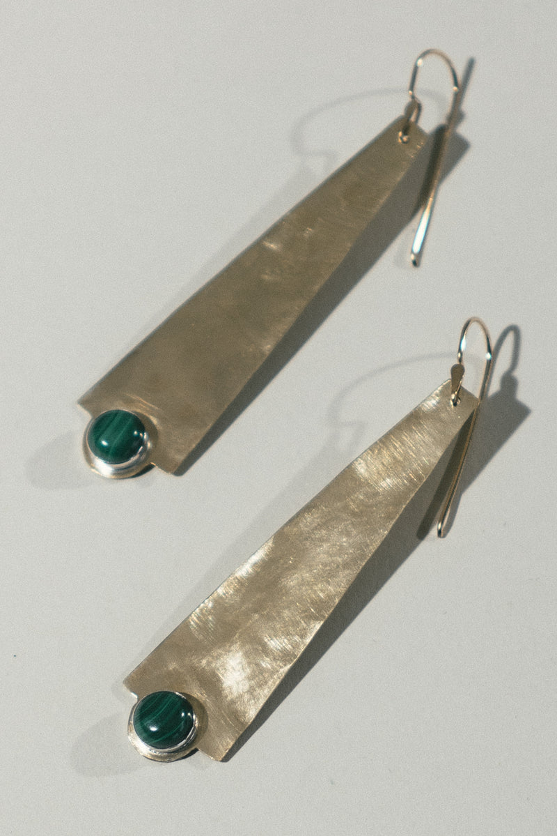 Torre Earrings with Malachite