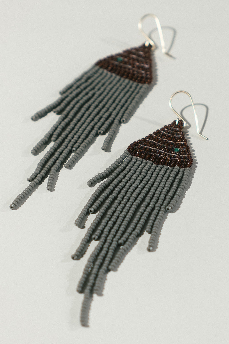 Grey and Sienna Fringe Earrings