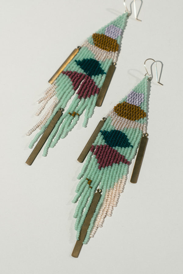 Long Triangle Fringe Earrings with Brass Accents