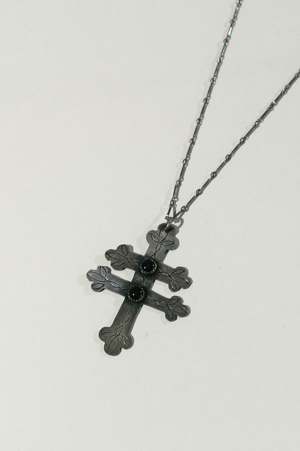 Large Lorraine Cross Necklace with Onyx