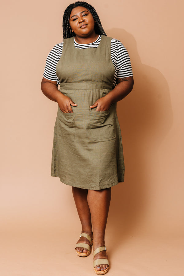Olive Linen Pinafore Dress +