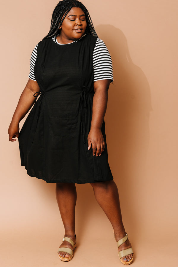 Tia Dress in Black Linen +