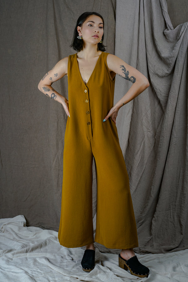 Turmeric Button Down Wide Leg Jumpsuit