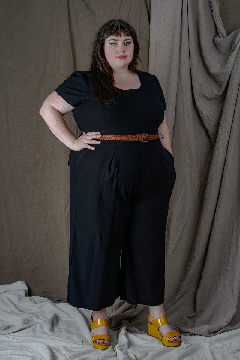 Vega Jumpsuit in Black Linen +