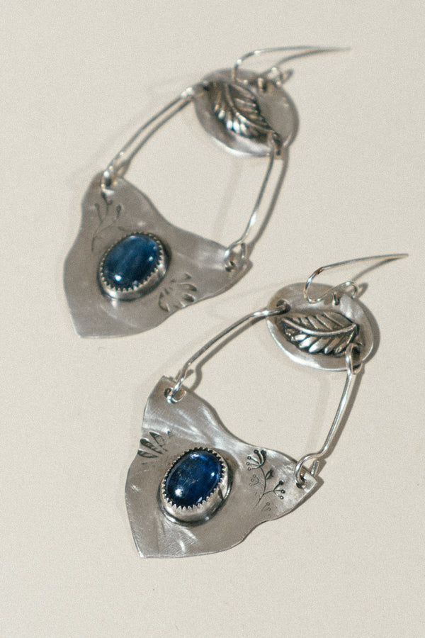 Hanging Feather Earrings with Kyanite