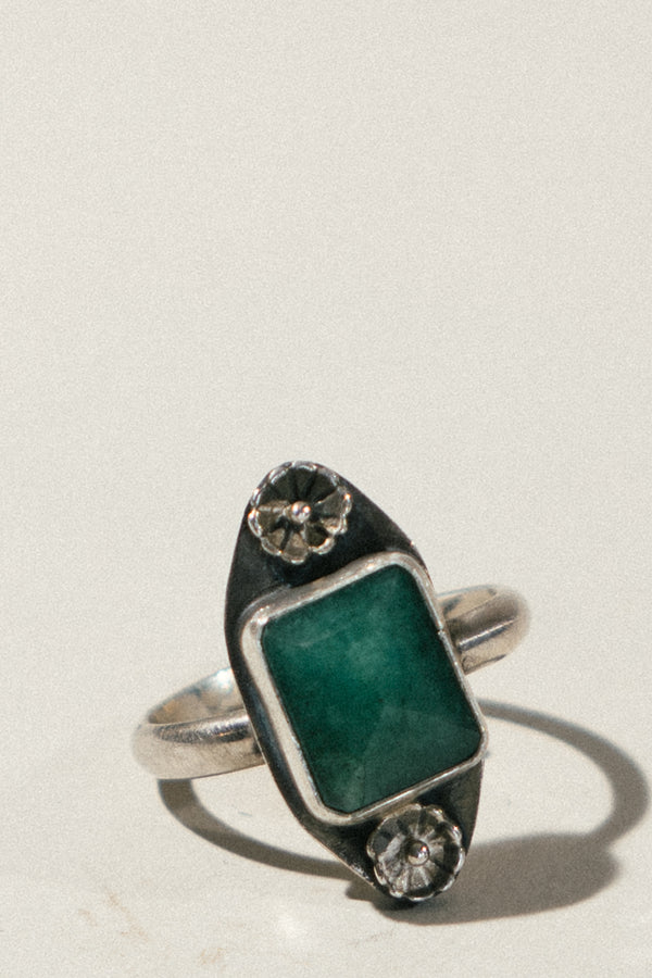 Square Cut Faceted Emerald Ring