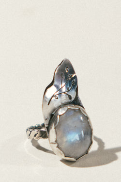 Rainbow Moonstone and Leaf Ring