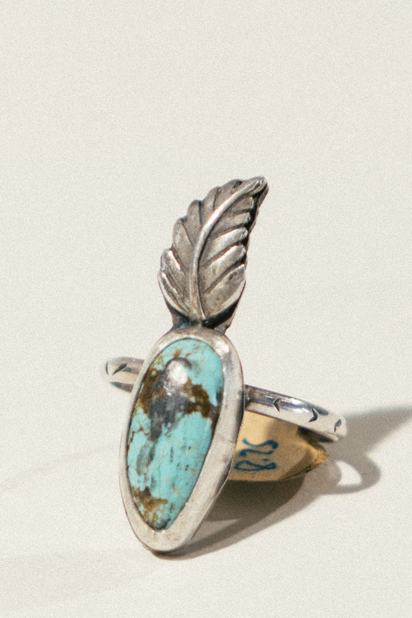 Turquoise and Feather Ring