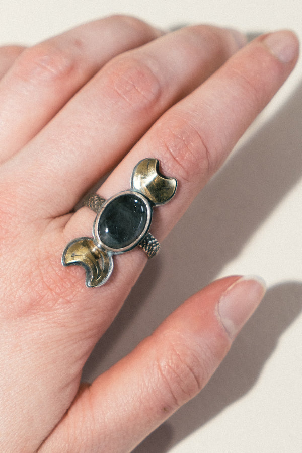 Double Crescent Moon Ring with Labradorite Ring