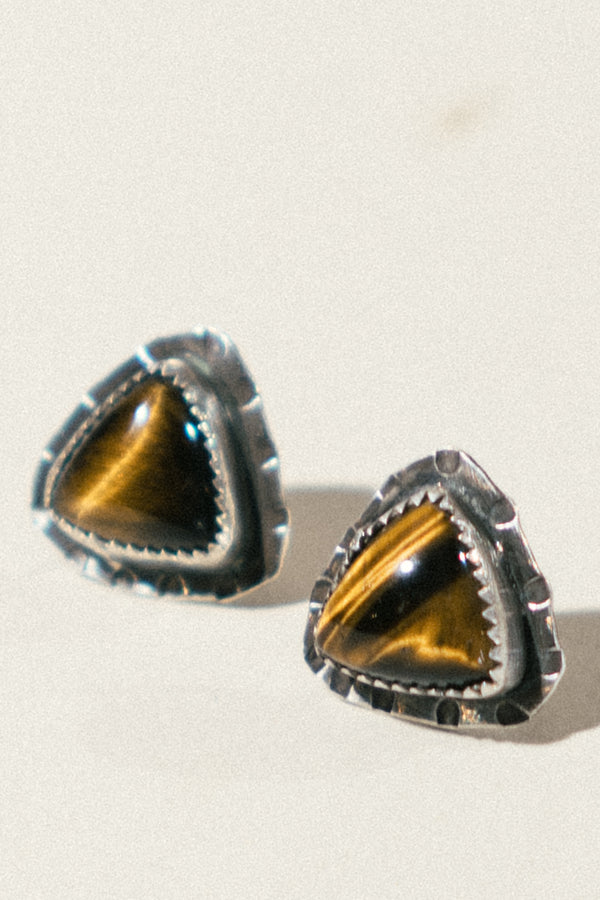 Pyramid Tiger's Eye Studs